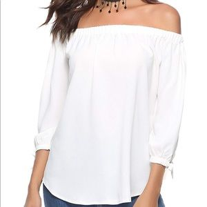 Off Shoulder Blouse 3/4 Sleeve Tie Cuff